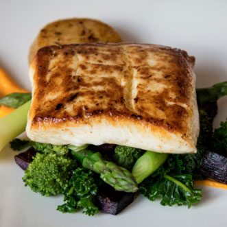 Quality Ingredients, Pan Seared Ball, Potato Cake and Summer Vegetables