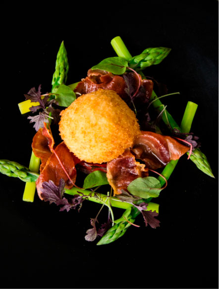Quality Ingredients, Scotch Egg with Pancetta and Asparagus