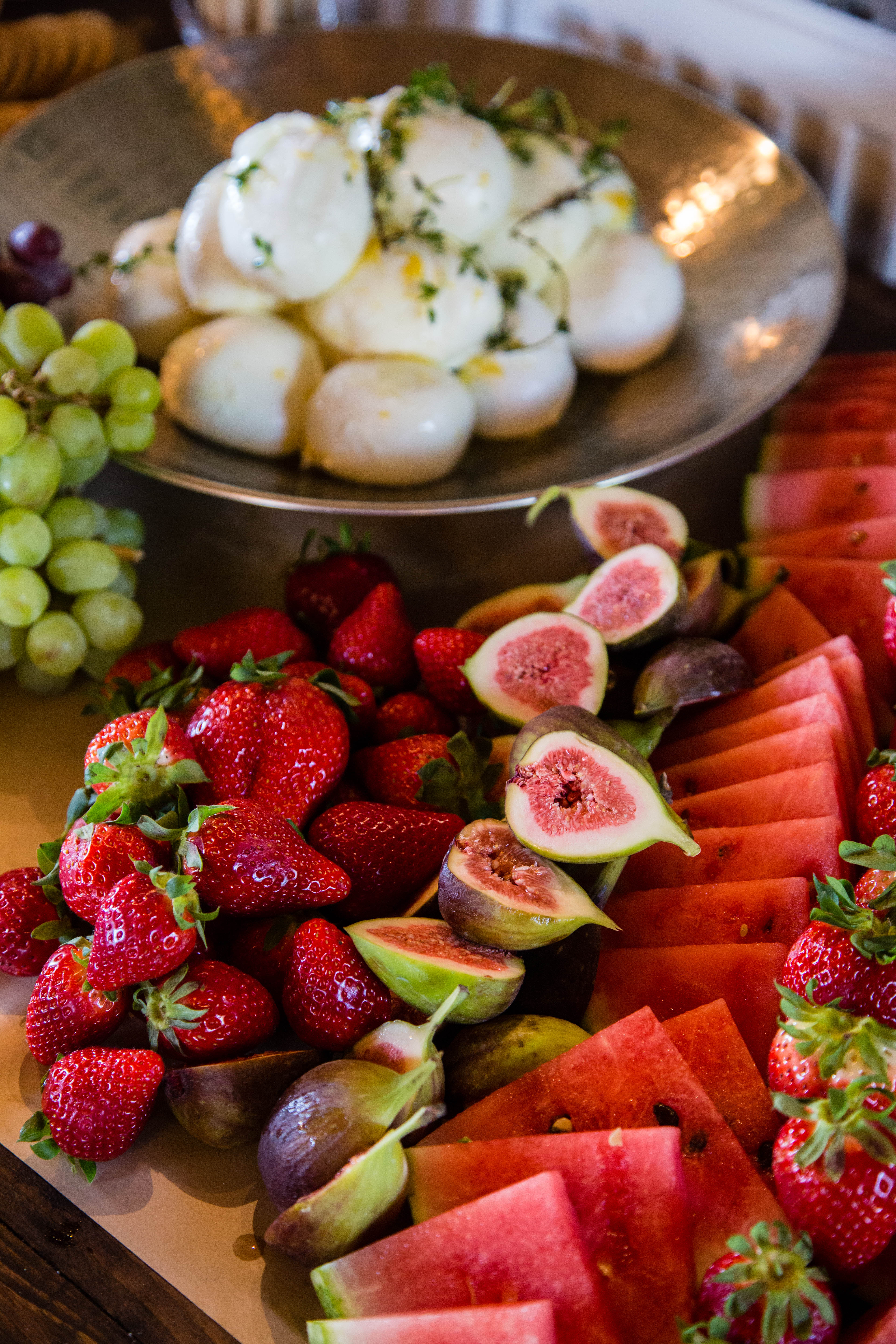 Quality Ingredients, Fresh Fruit Platter with Mozzarella Balls